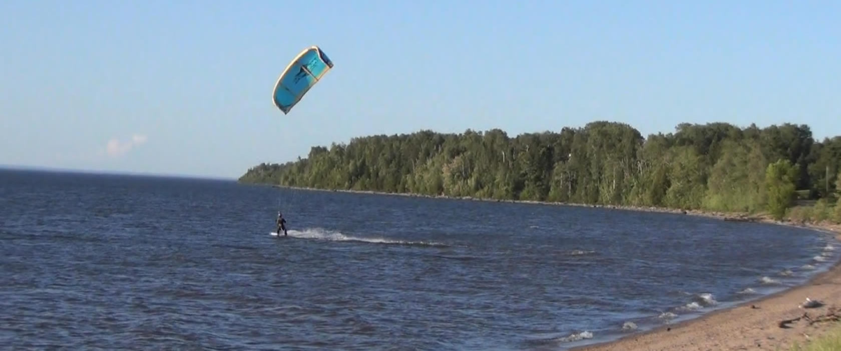 Wind surfing on Lake Superior at Herbster, Wisconsin