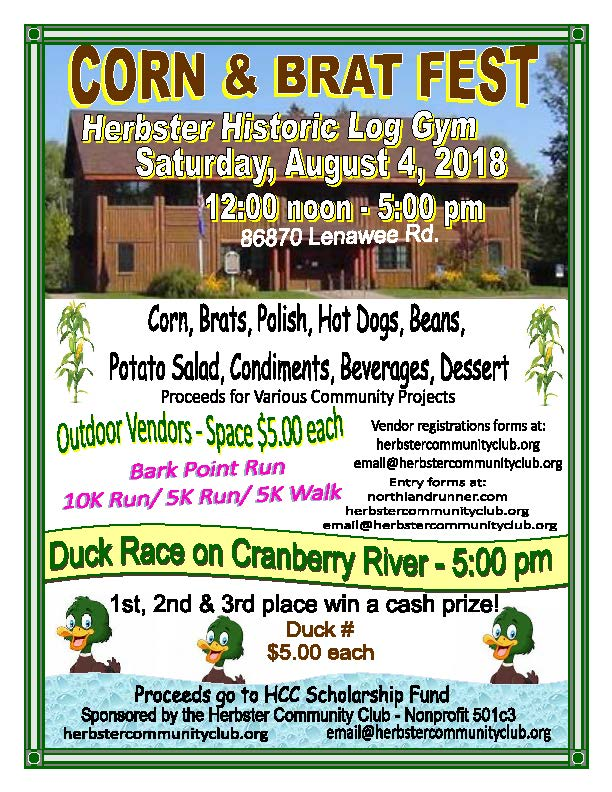 2018 herbster corn and brat fest